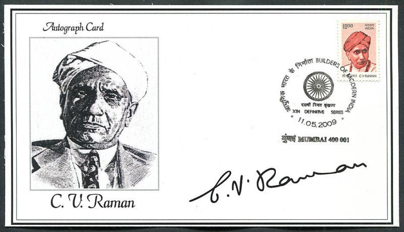 C V Raman Autograph Card