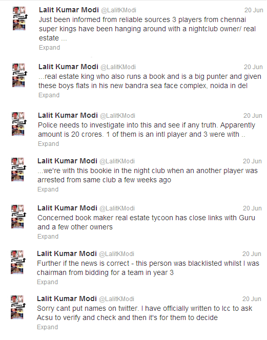 Lalit Modi CSK Real Estate Tycoon Bookie Link Tweets