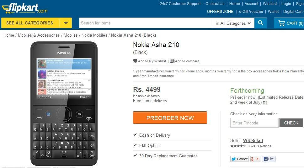 Nokia Asha 210 Flipkart
