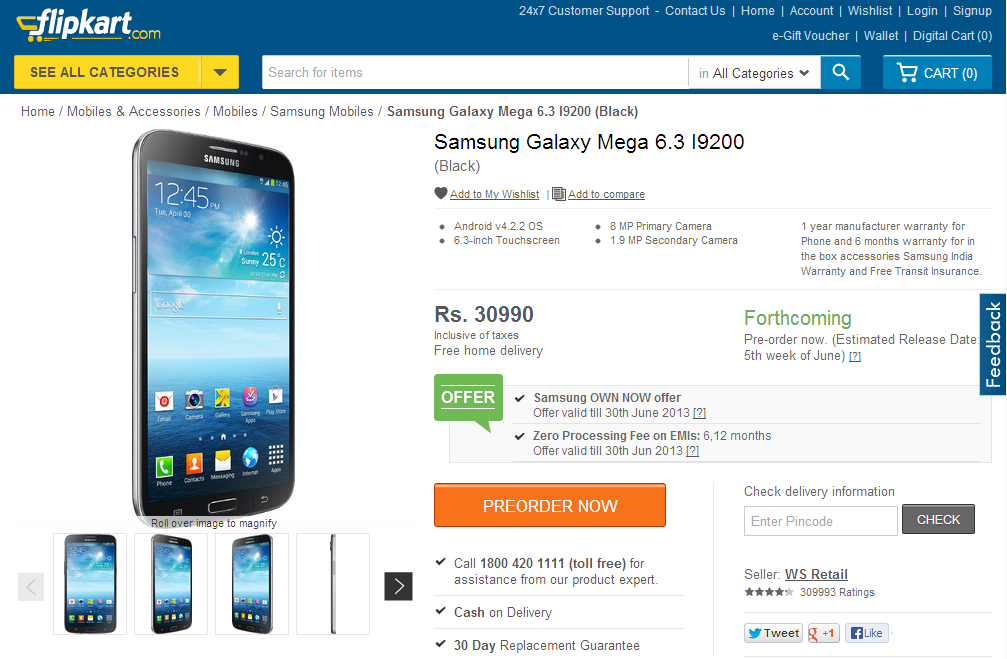 Samsung Galaxy Mega 6.3 Flipkart