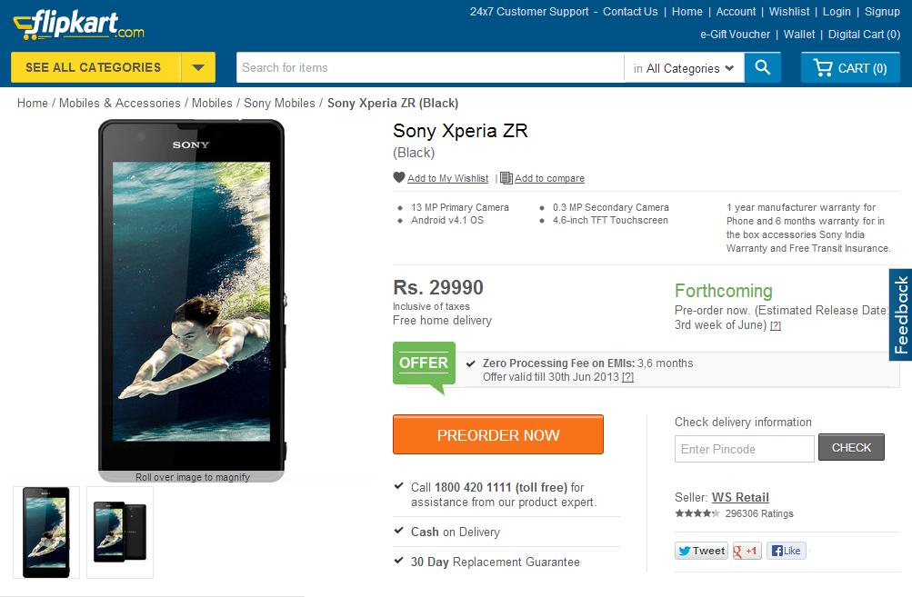 Sony Xperia ZR Flipkart