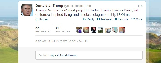 Donald Trump Tweet Trump Towers Pune