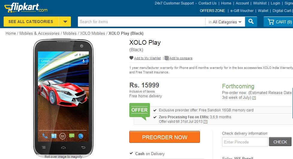 XOLO Play T1000 Flipkart