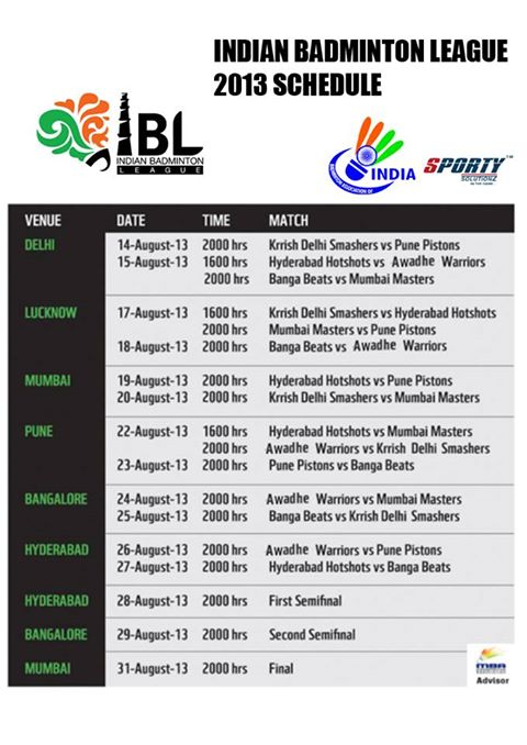 Indian Badminton League Schedule