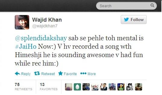 Sajid Wajid Jai Ho Tweet