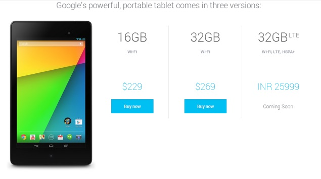 Google Nexus 7 (2013) 3G LTE Tablet Price In India Is Rs. 25,999. Listed in Google Play Store.