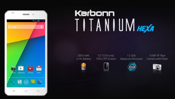 Karbonn Titanium Hexa Available With Amazon For Price Rs.16990: Hexa-Core Processor, 13MP Camera