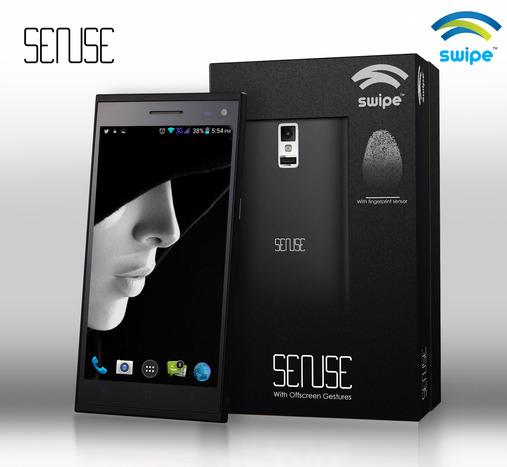 Swipe Sense: Fablet With A Fingerprint Scanner, 5.5-Inch Display For Price Rs 9999/-